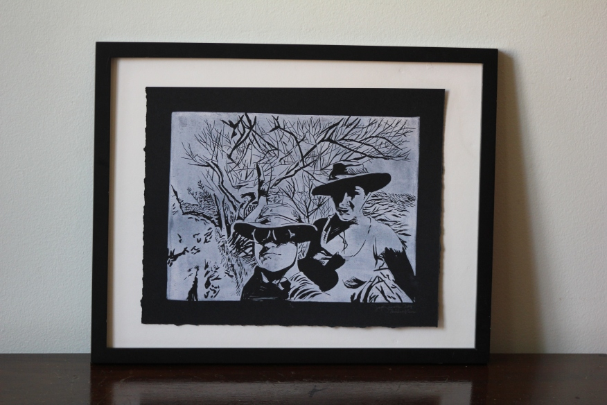 Michelle & Gabe/Mail Art | Linoleum Print on Paper