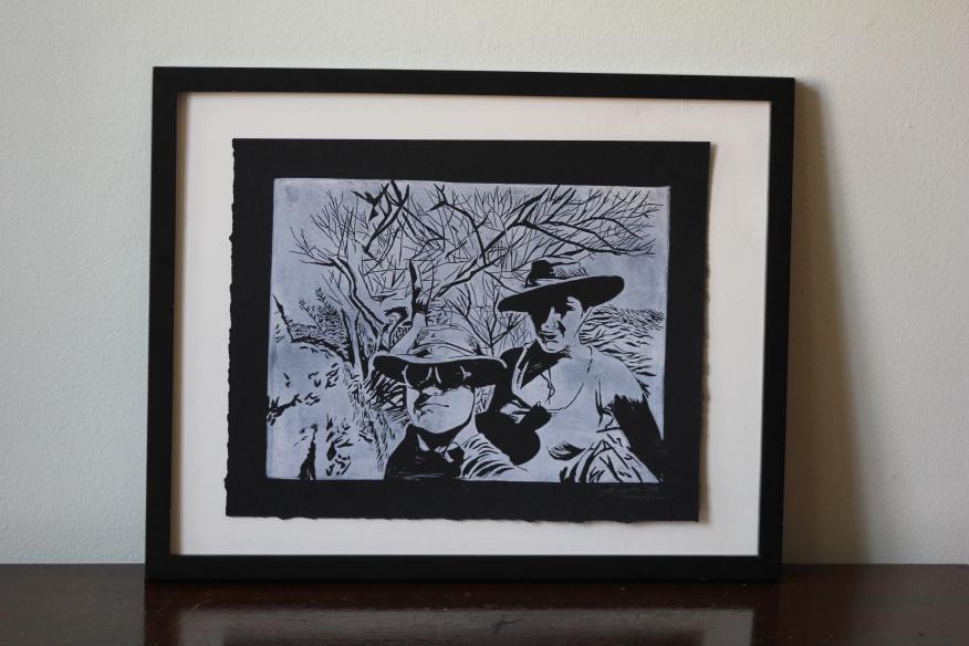 Michelle & Gabe/Mail Art   Linoleum Print on Paper