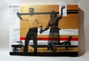 "We're Just Like You | Acrylic & Screen Print on Panel, 24""x28"""