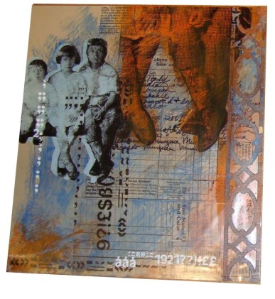Tre Fratello  Acrylic, Transparency Paper, Transfer Letters on Panel