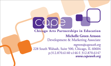 Chicago Arts Partnerships in Education|business card design